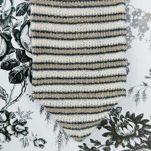 Structure striped knit tie square stitch linen